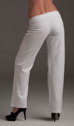 Women's White 100% Cotton Sweat Pants, back